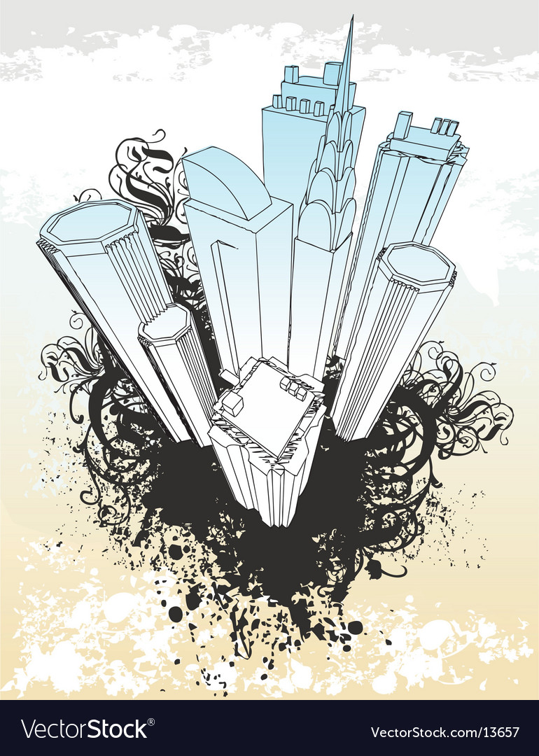 Grunge city illustration vector image