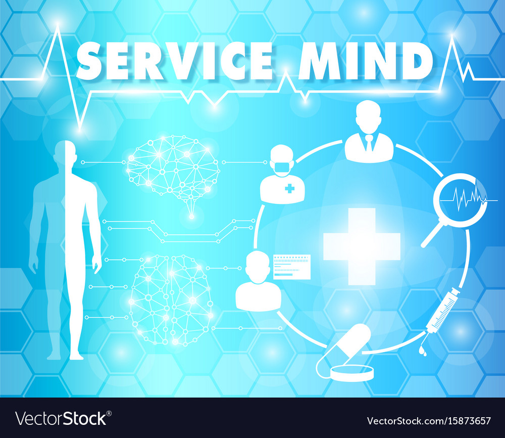 Service mind with medical and healthcare vector image