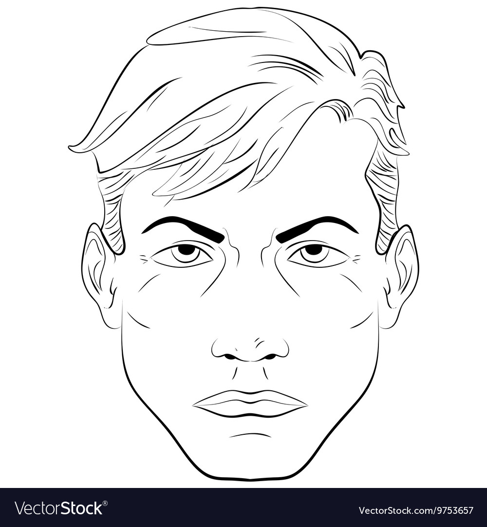 Sketch handsome man face vector image