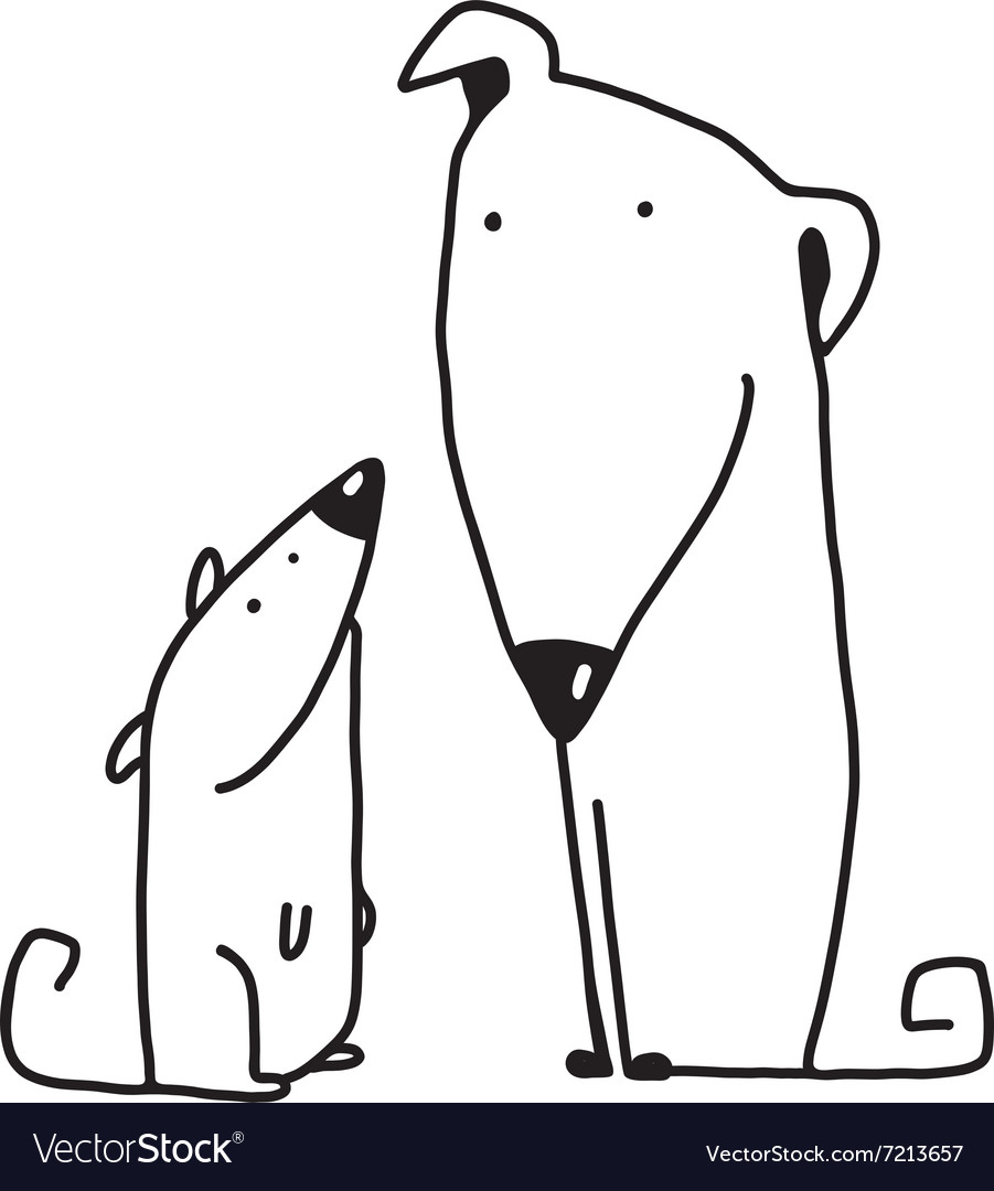 Two cartoon brown dog parent and kid vector image