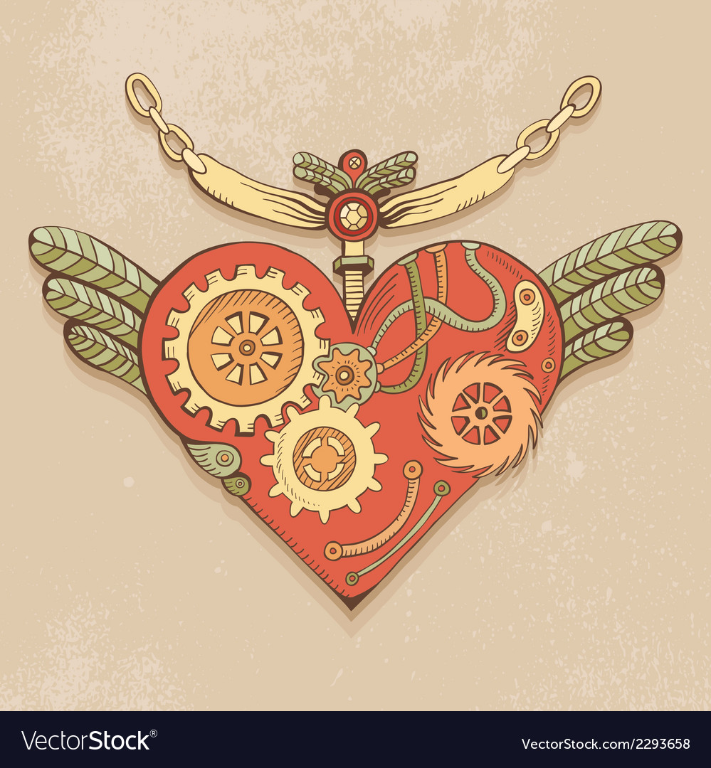 Steampunk heart color vector image