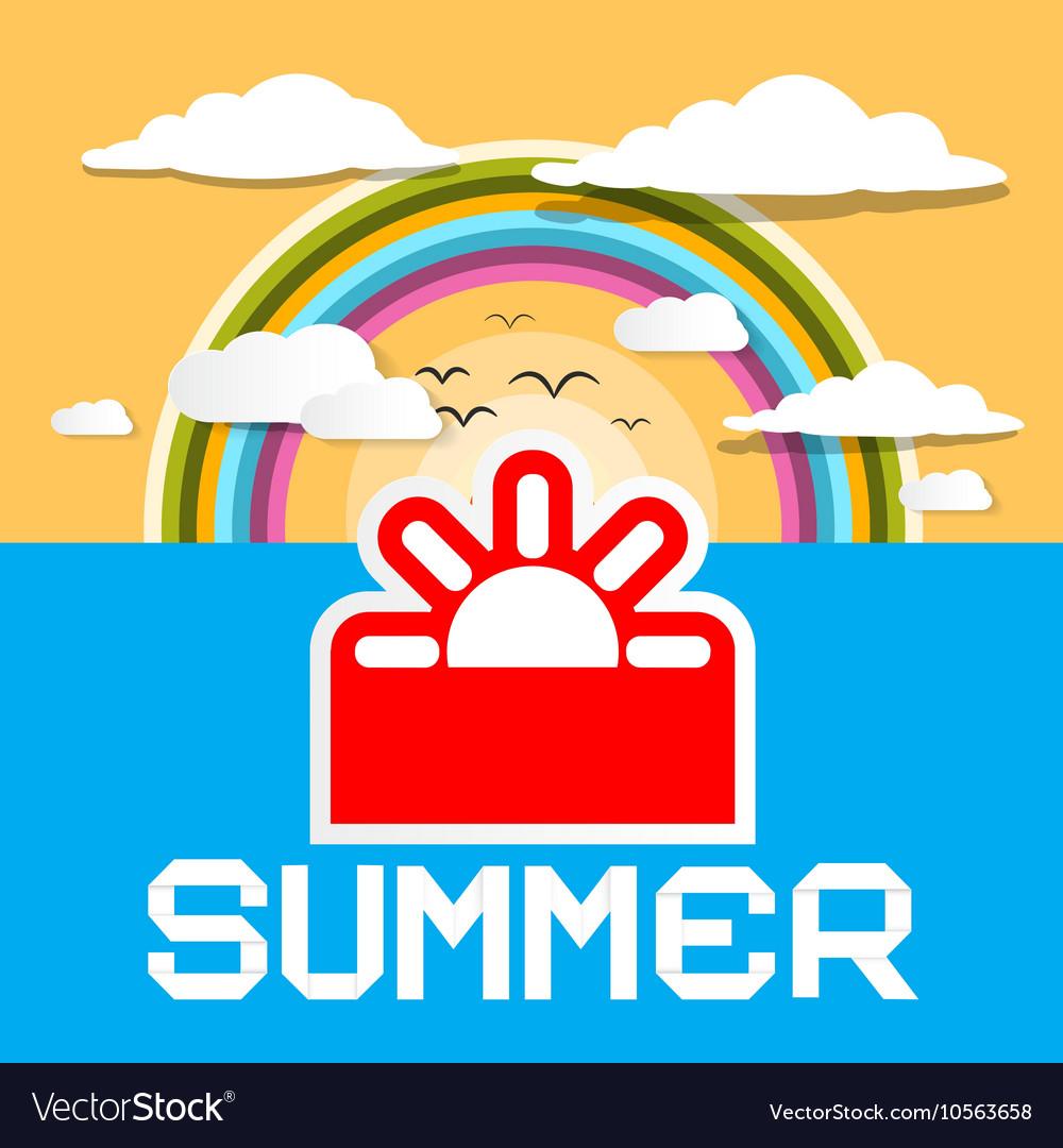 Summer Retro Card Summer Ocean with Paper C vector image