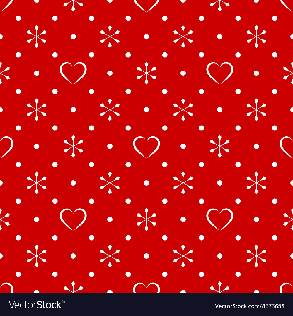 Vintage polka dot pattern with snowflake and heart vector image