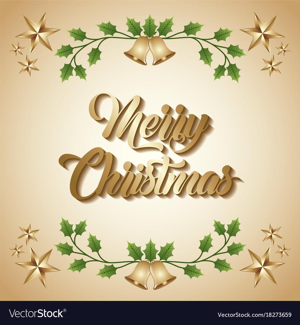 Merry christmas card greeting invitation golden vector image kristyandbryce Choice Image