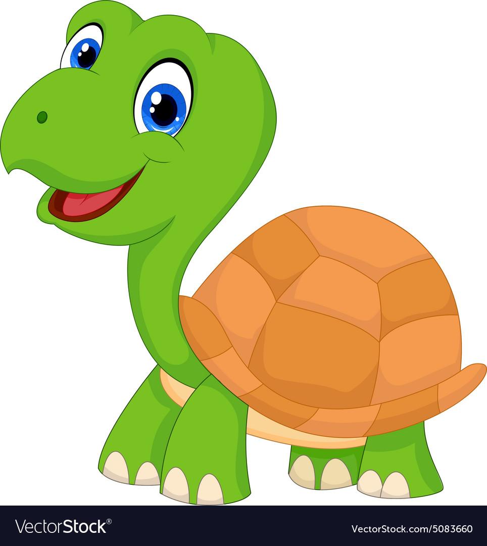 Cute cartoon green turtle Royalty Free Vector Image