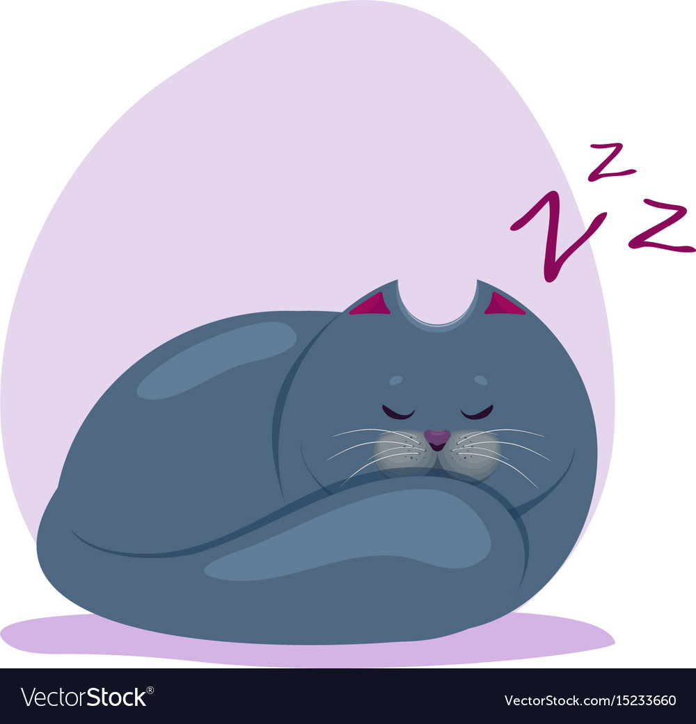 Cute sleeping fatty smokey blue vector image