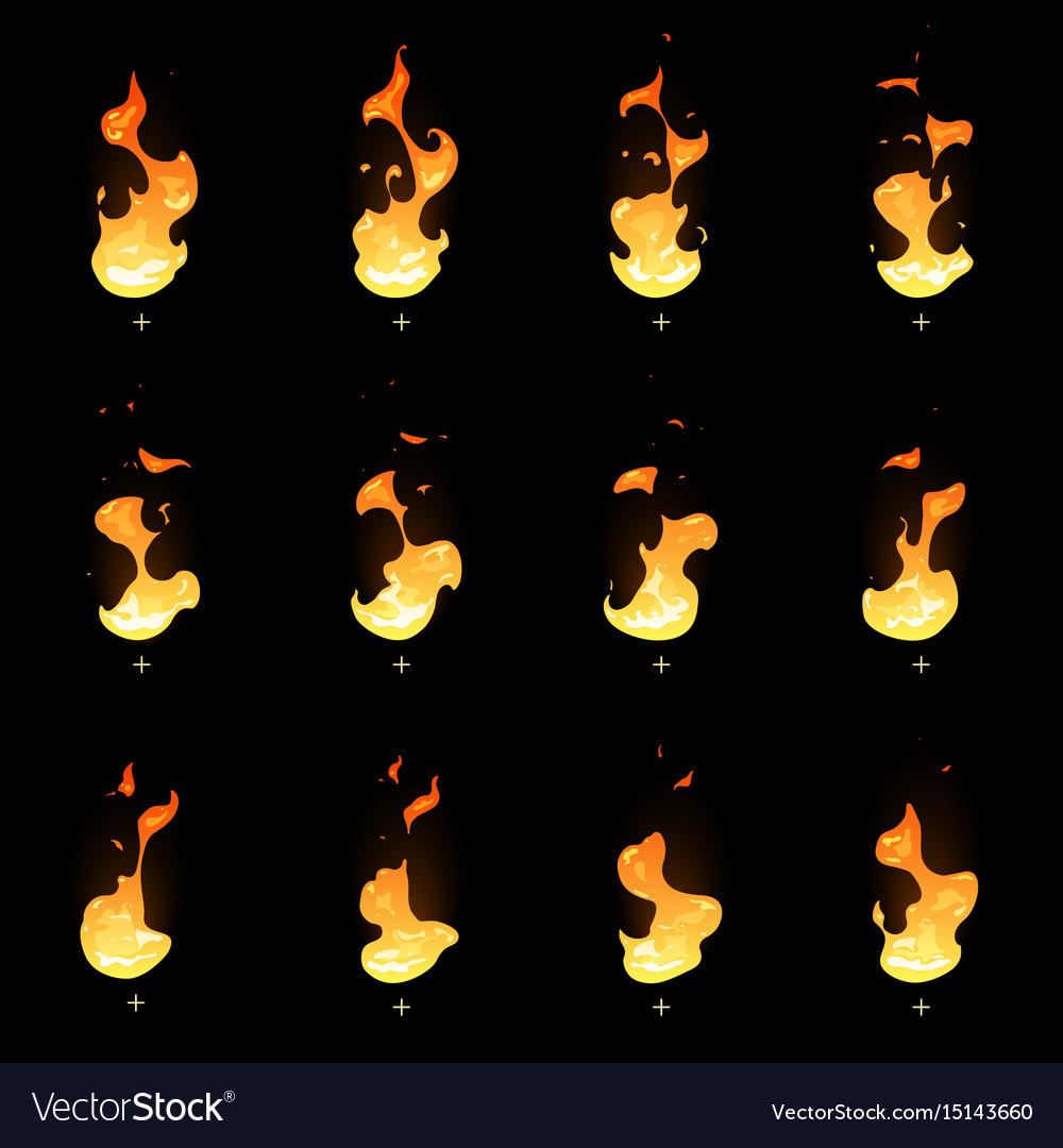 Fire sprite sheet cartoon flame game vector image