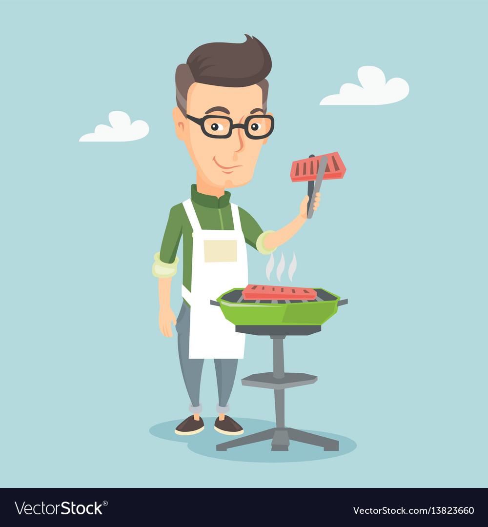 Man cooking steak on barbecue grill vector image