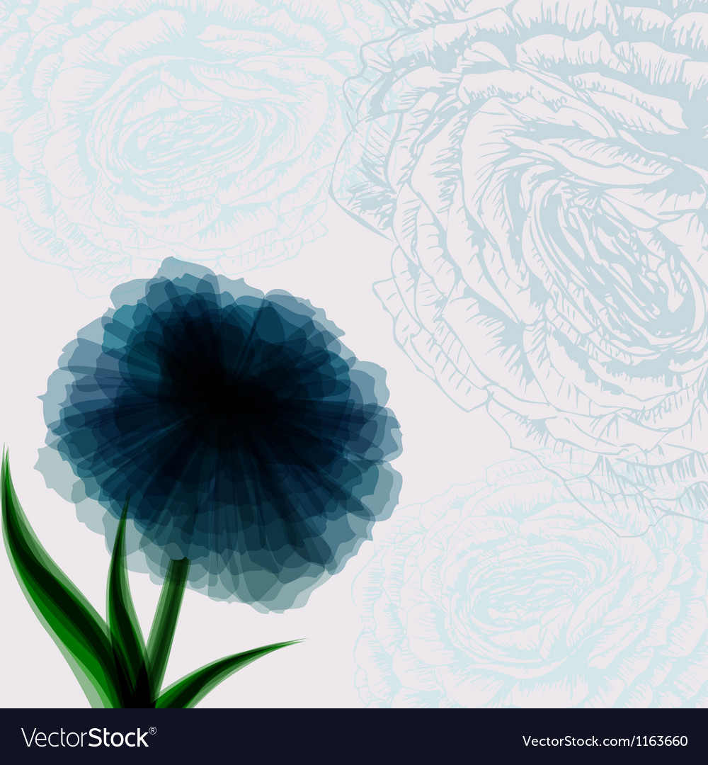 Vintage background with dark blue flower vector image