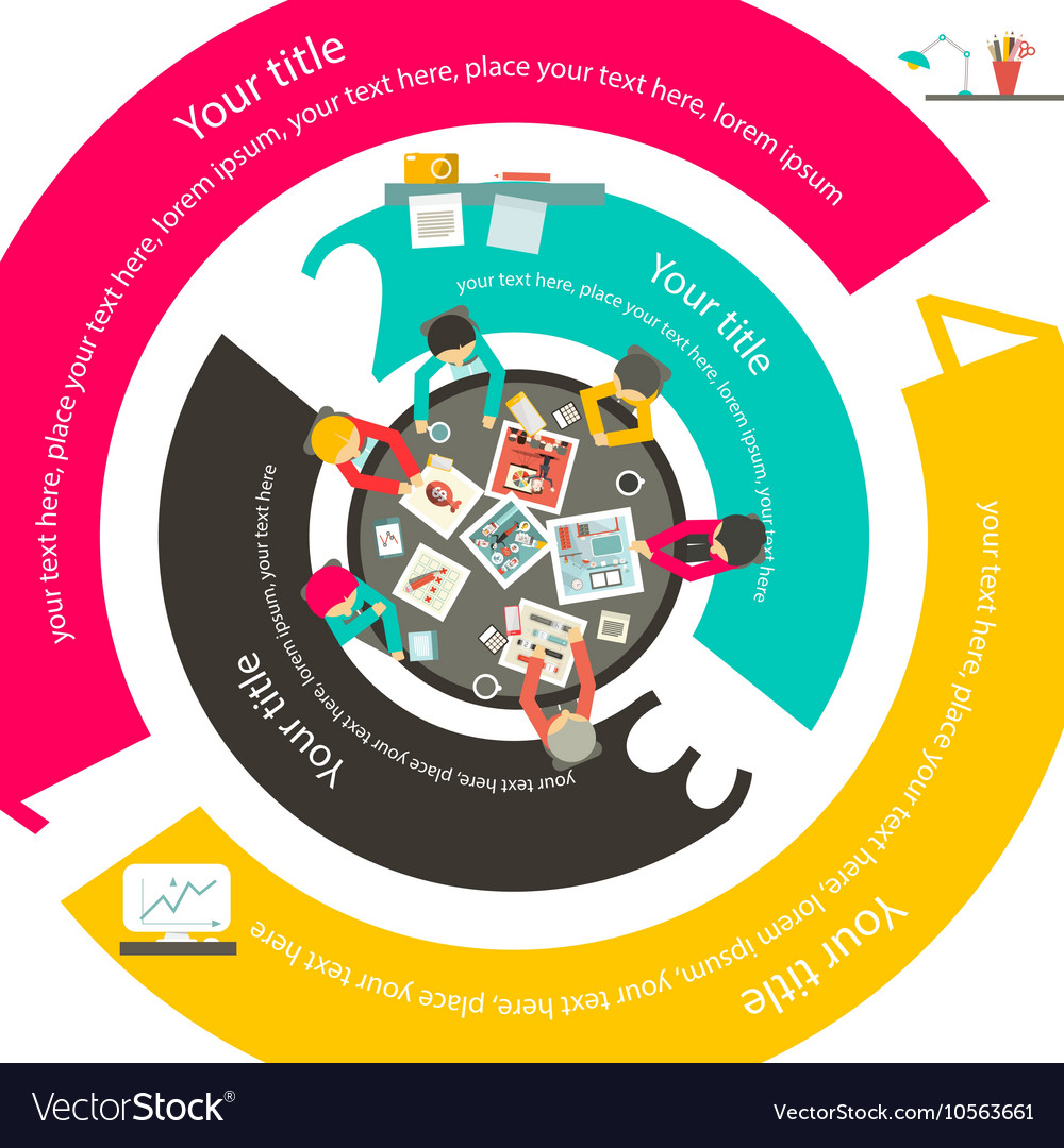 People Around Top View Modern Infographic Business vector image