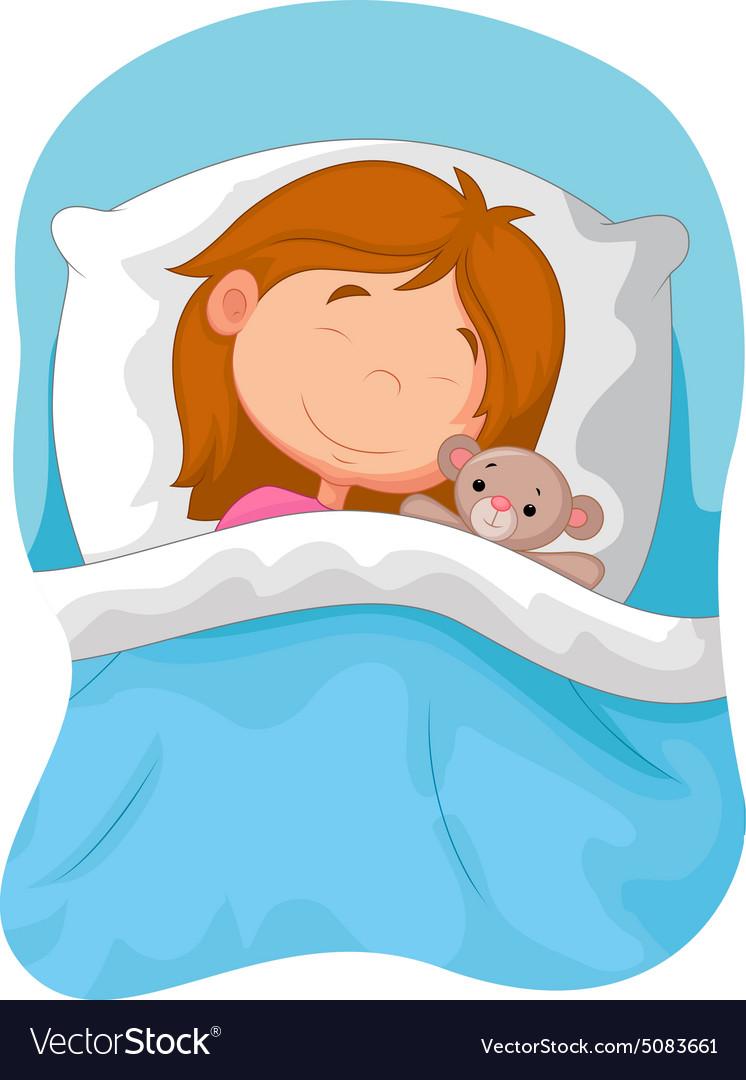 Cartoon Boy And Girl Sleeping In Bed