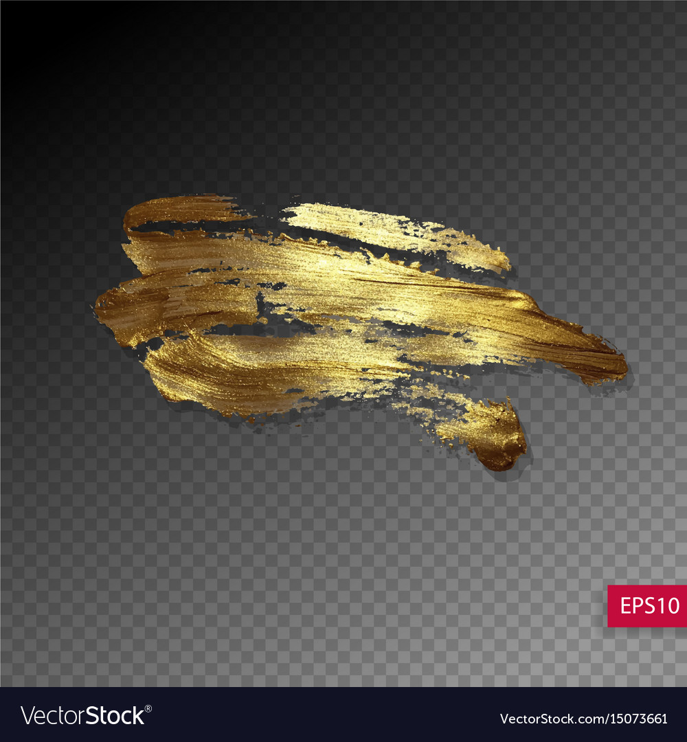 Hand drawing gold brush stroke paint spot vector image