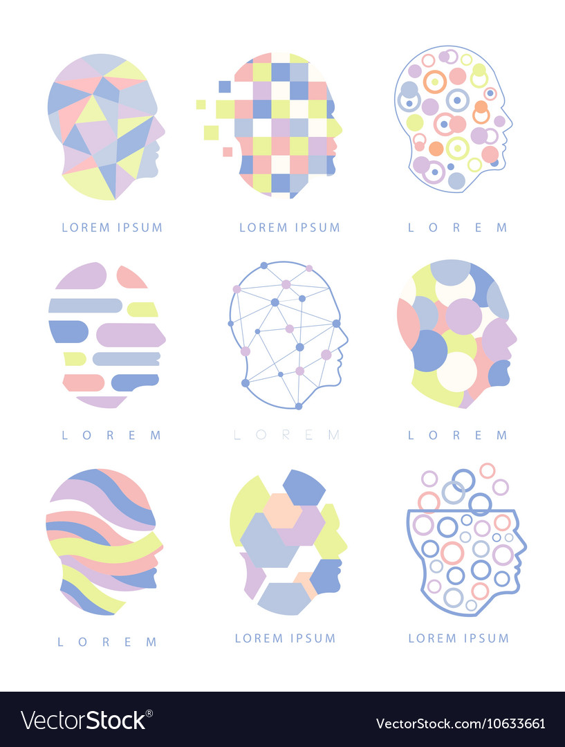 Thinking Inside Human Head Different Abstract vector image