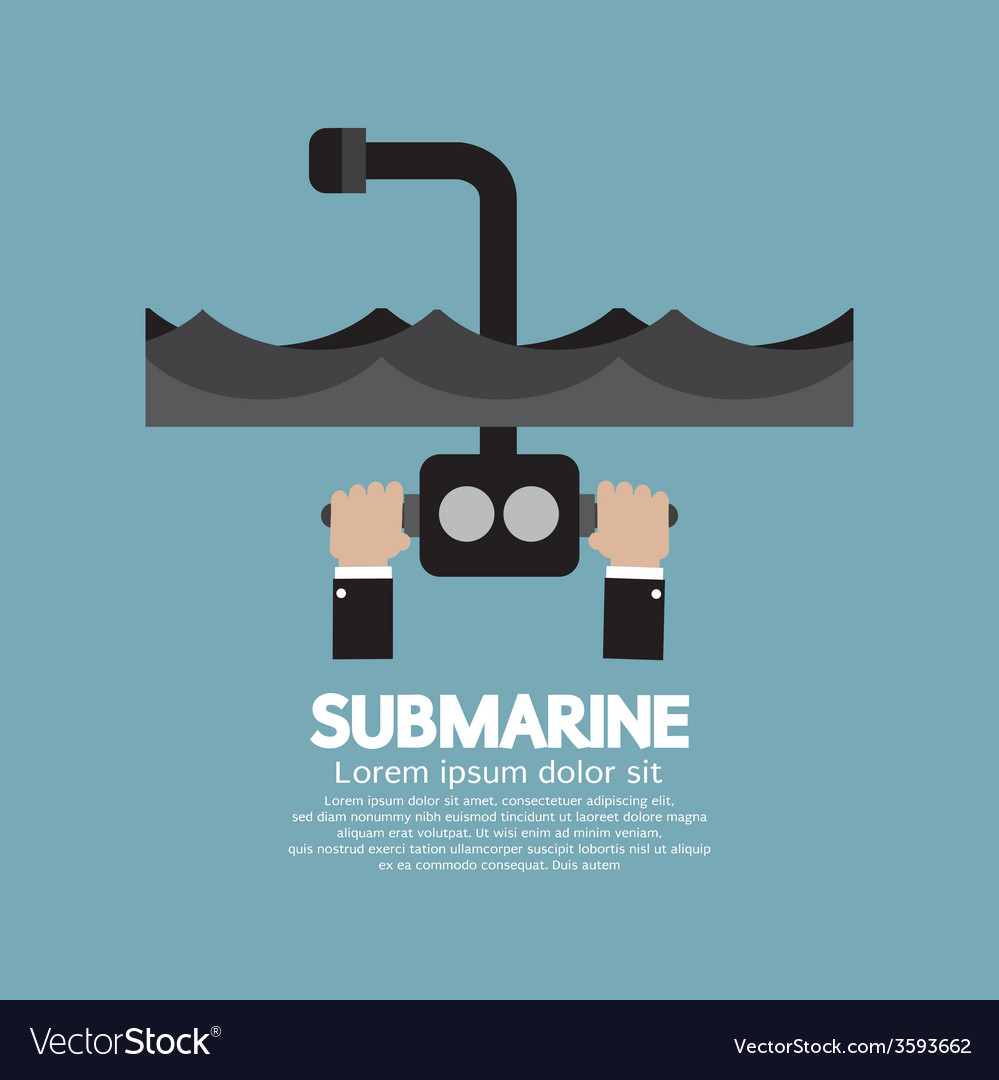 Periscope Of Submarine Under The Ocean vector image