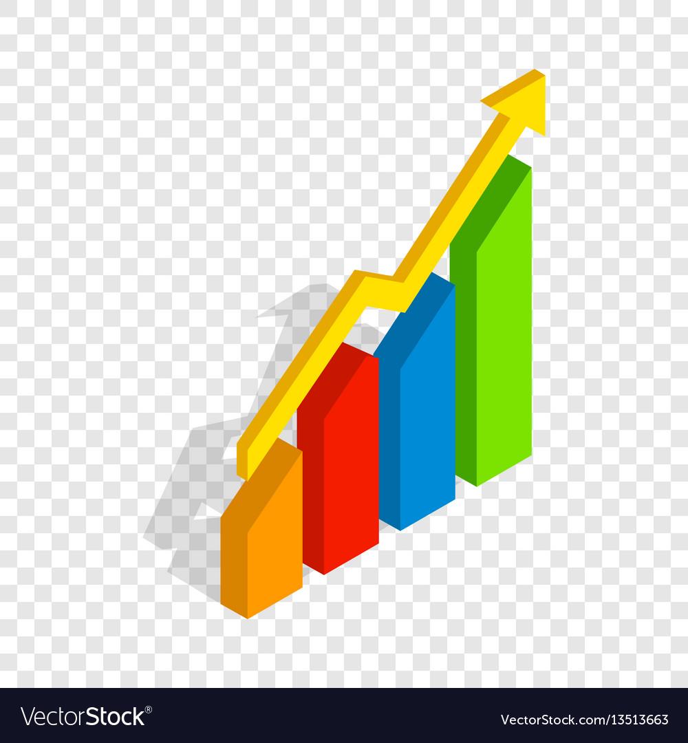 Chart arrow up isometric icon vector image