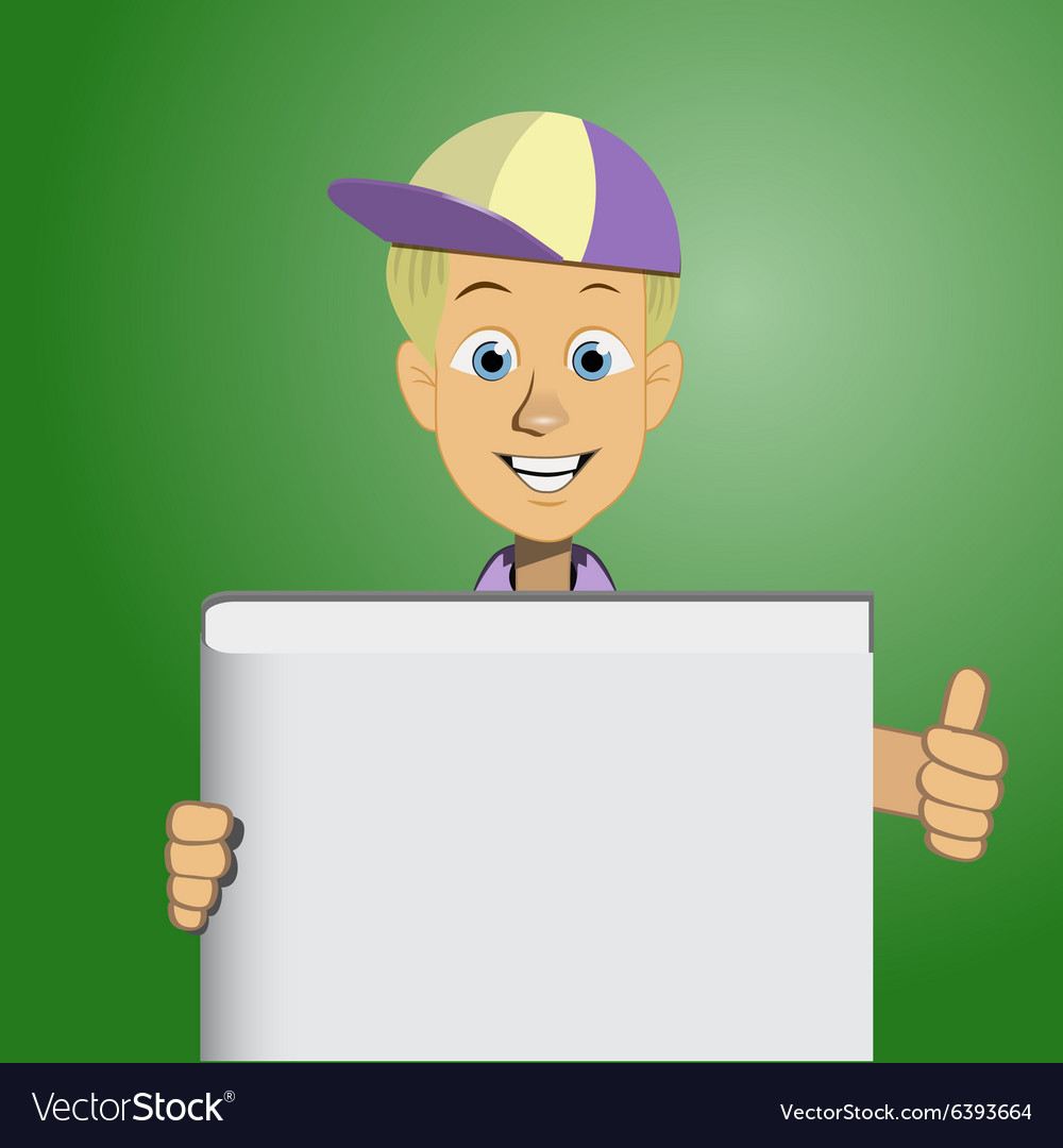Boy holding a blank book vector image
