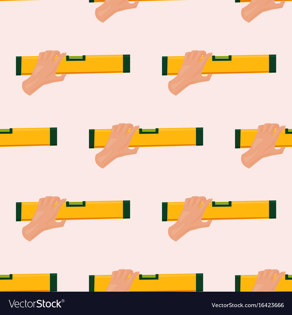 Hands with construction level tools cartoon vector image