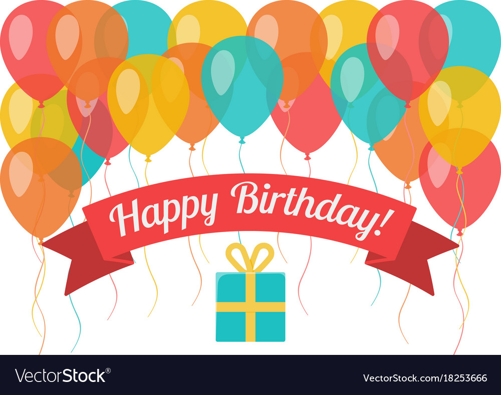 Happy birthday greeting card with flying balloons vector image bookmarktalkfo Images