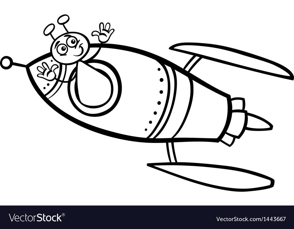 Alien in rocket cartoon coloring page vector image