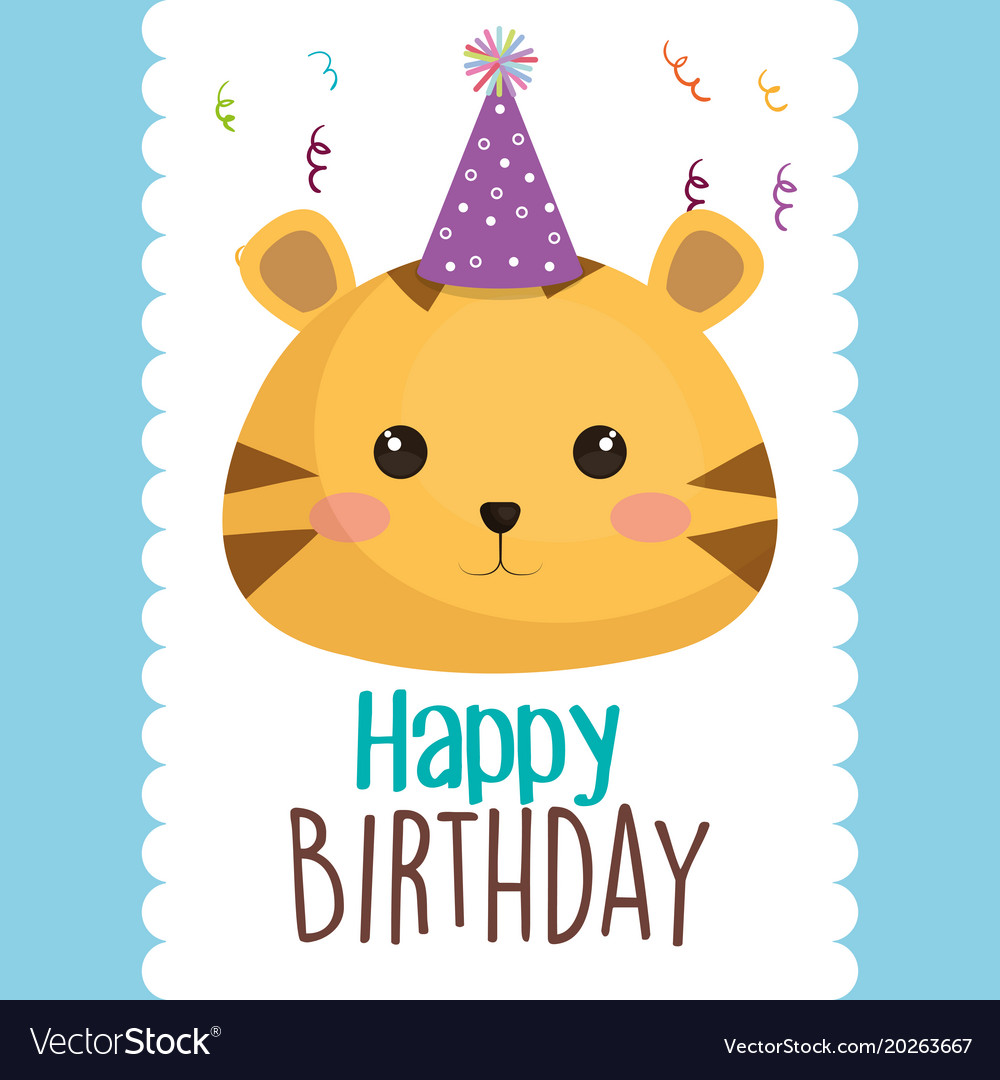 Happy birthday card with cute cat character vector image bookmarktalkfo Images