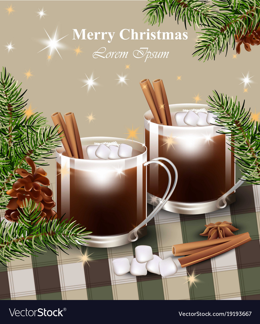 Merry christmas card with hot chocolate royalty free vector merry christmas card with hot chocolate vector image m4hsunfo