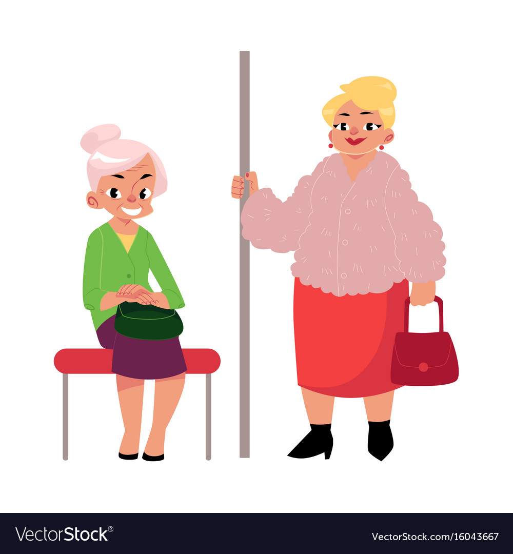 Plump middle age woman standing old lady sitting vector image