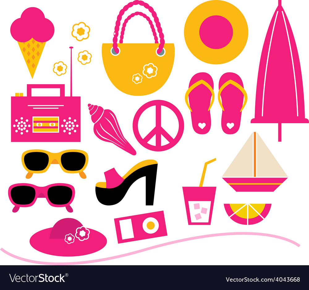 Pink summer beach elements set isolated on white vector image