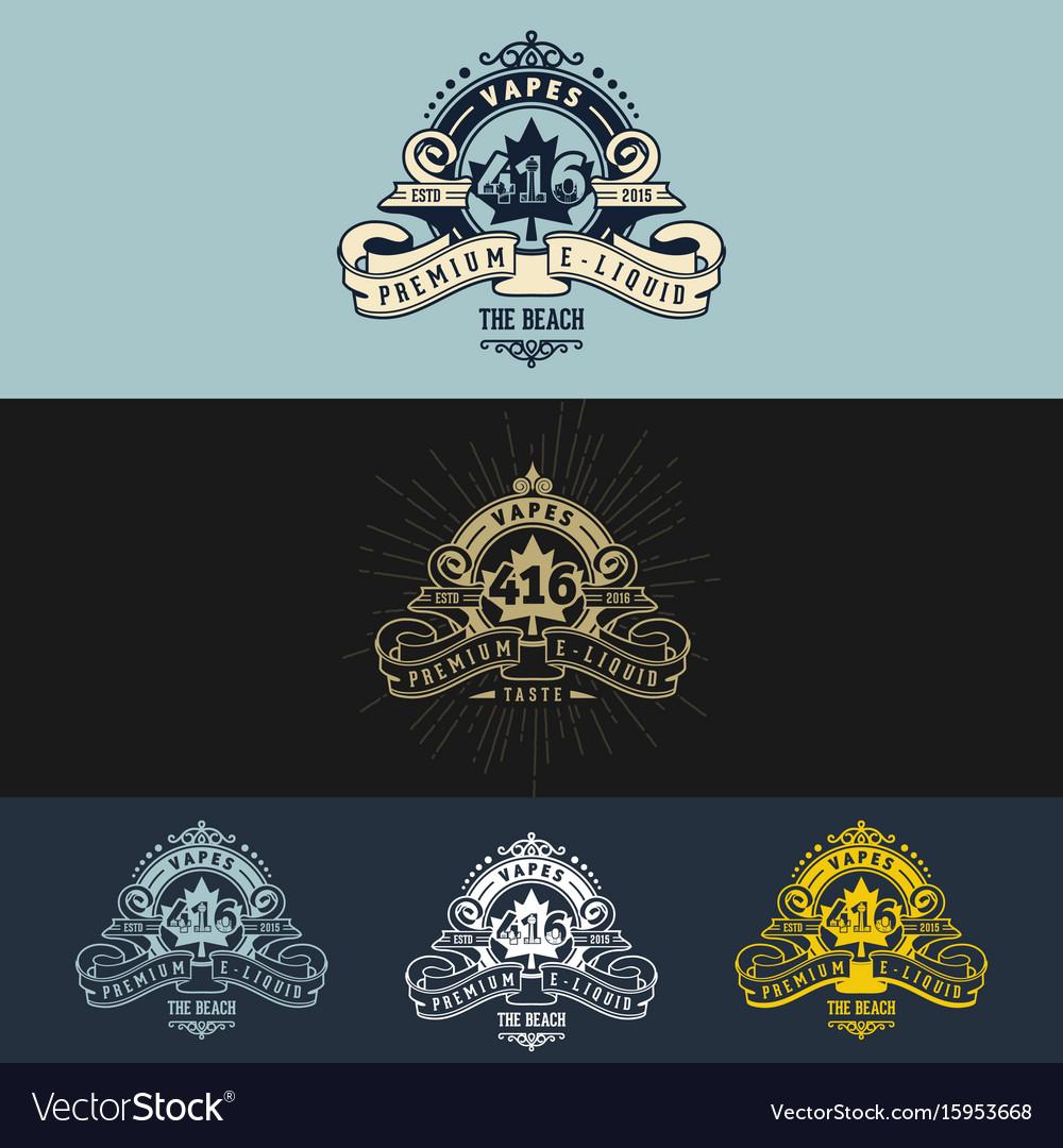 Vape vintage logo design vector image