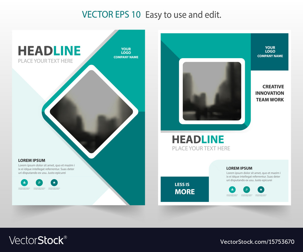 Green square abstract annual report brochure vector image