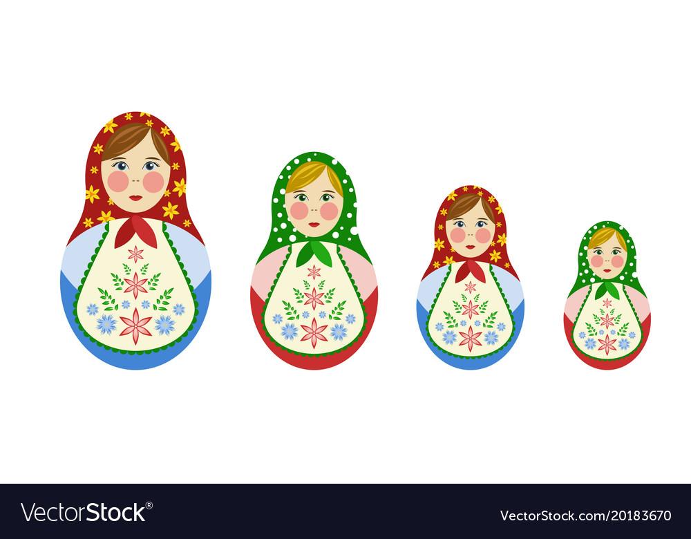 Set of russian nesting dolls vector image