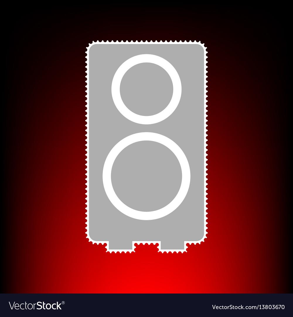 Speaker sign postage stamp or old vector image
