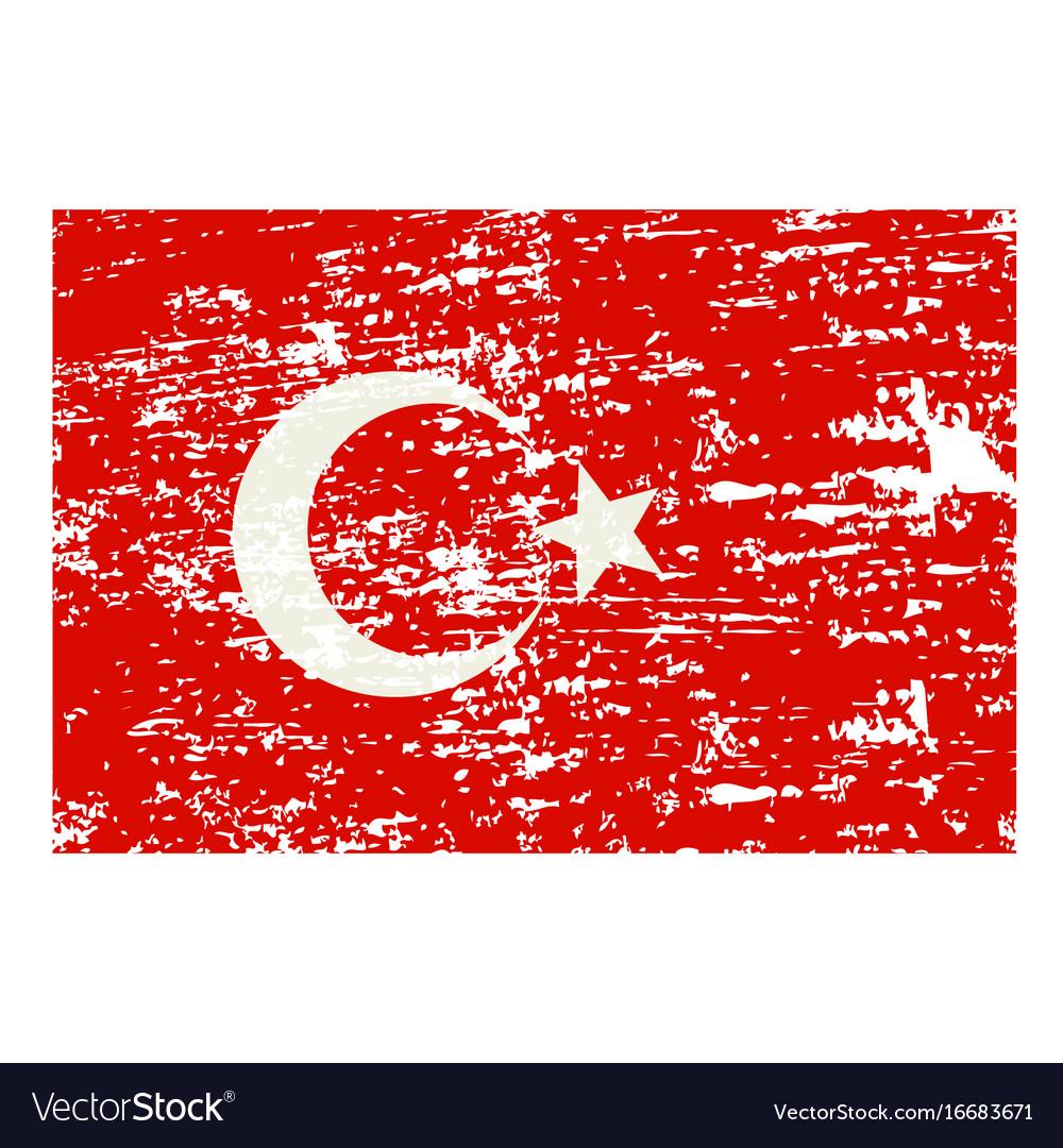 Grunge styled flag of turkey vector image