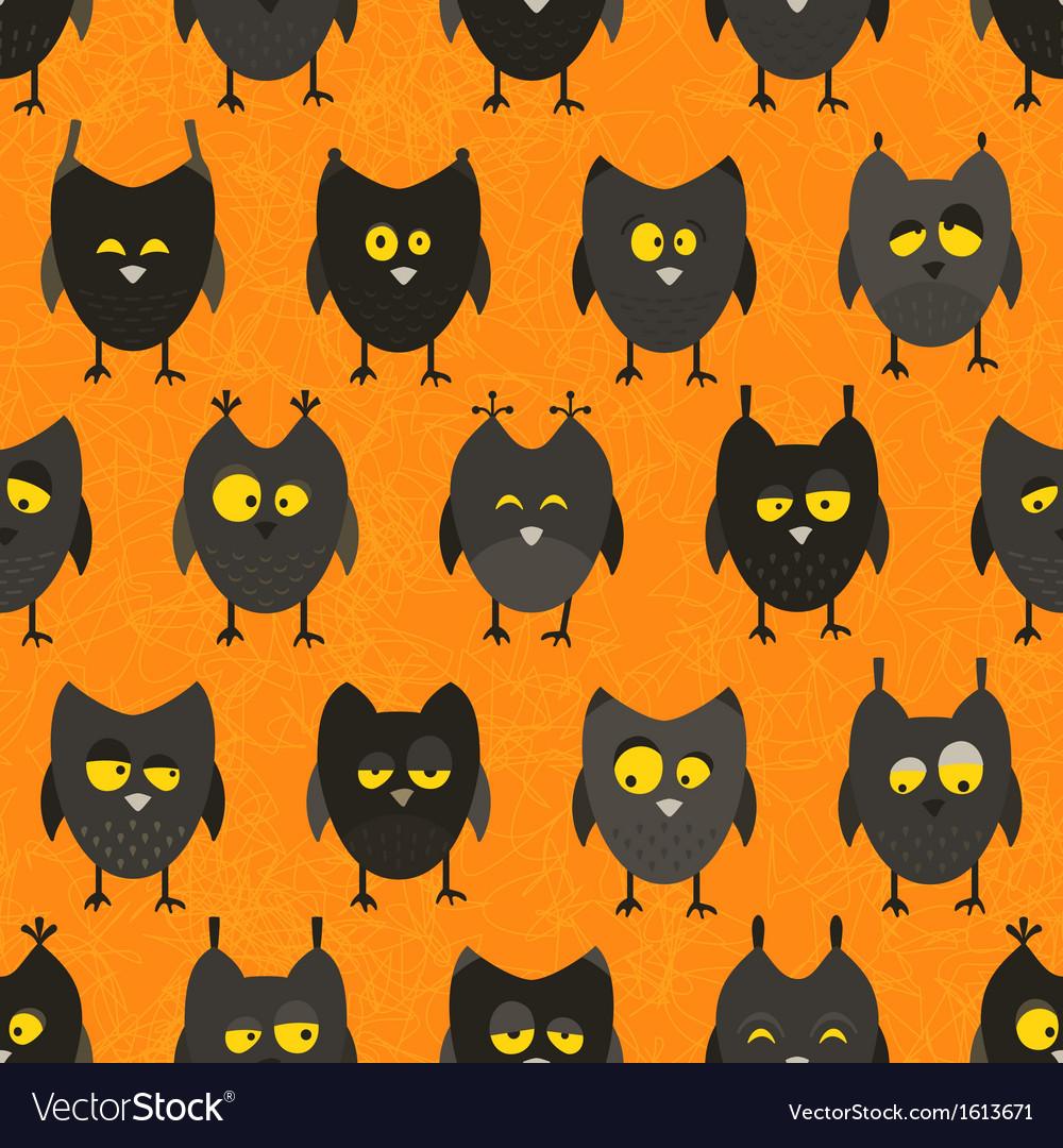 Halloween owl seamless background vector image