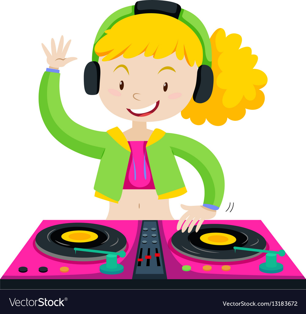DJ playing music with machine vector image