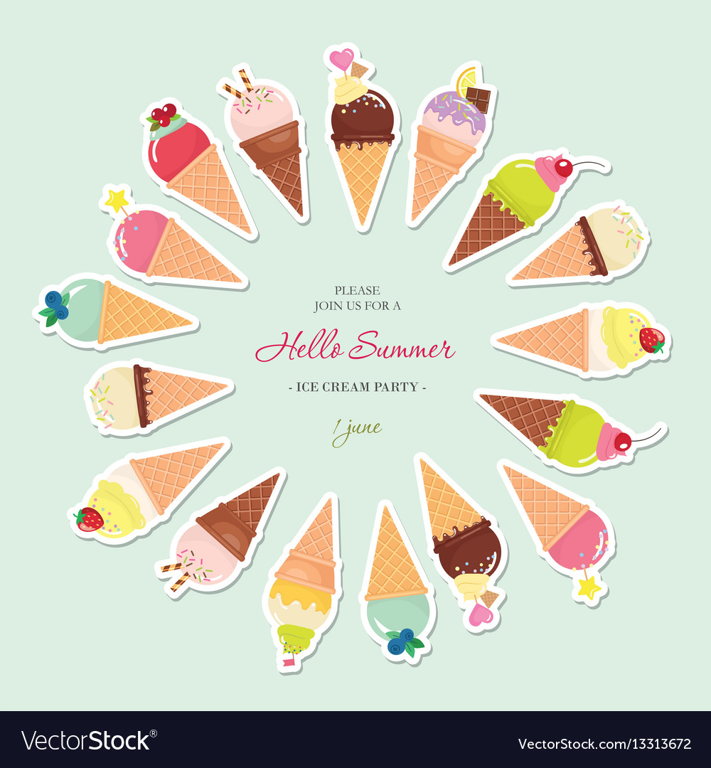 Festive round frame made of ice-cream cones with vector image