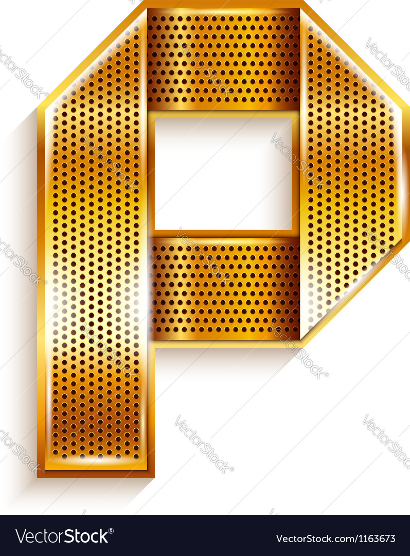 Letter metal gold ribbon - P Vector Image