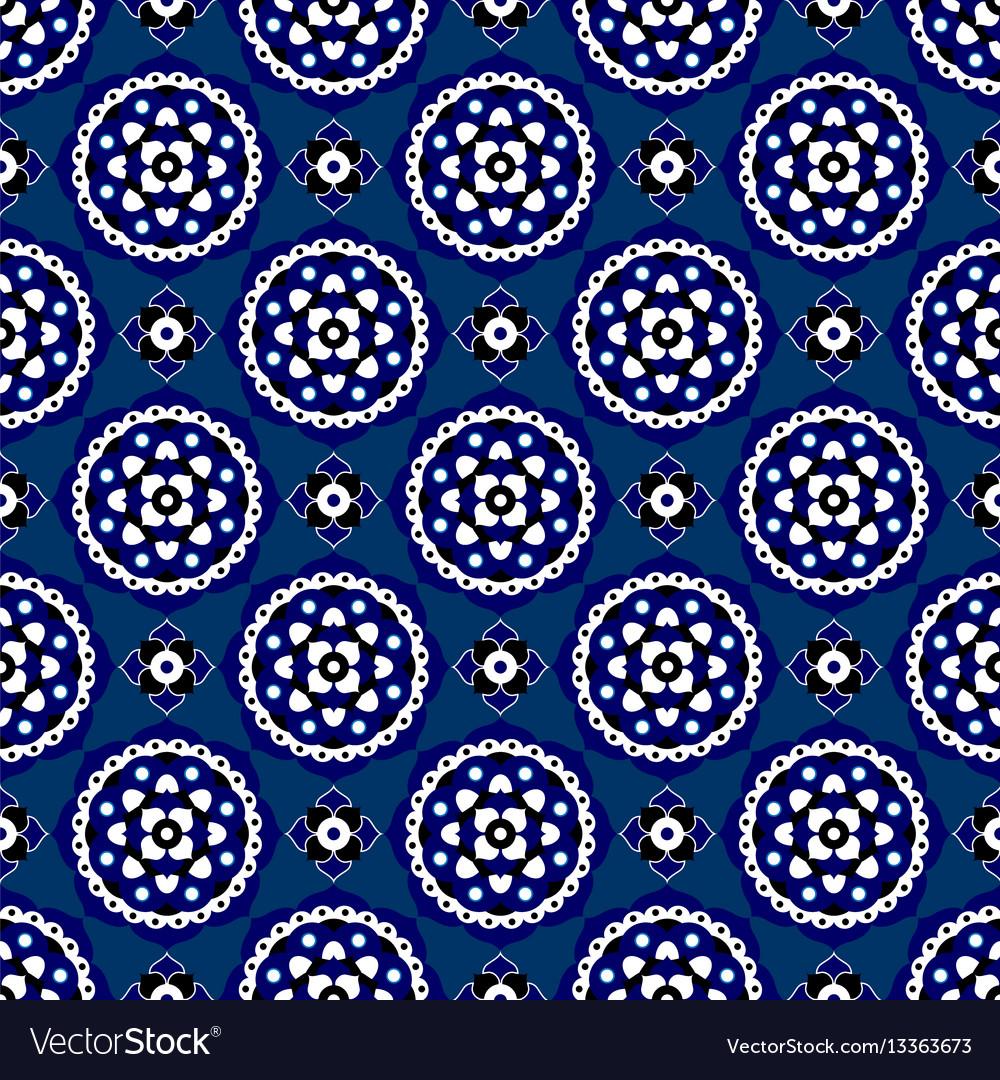 Seamless - blue oriental bloom tiles vector image