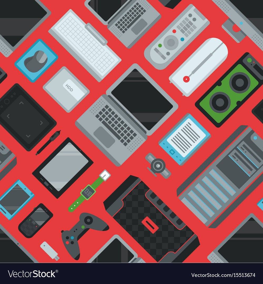 Electronic gadgets technology devices computer vector image