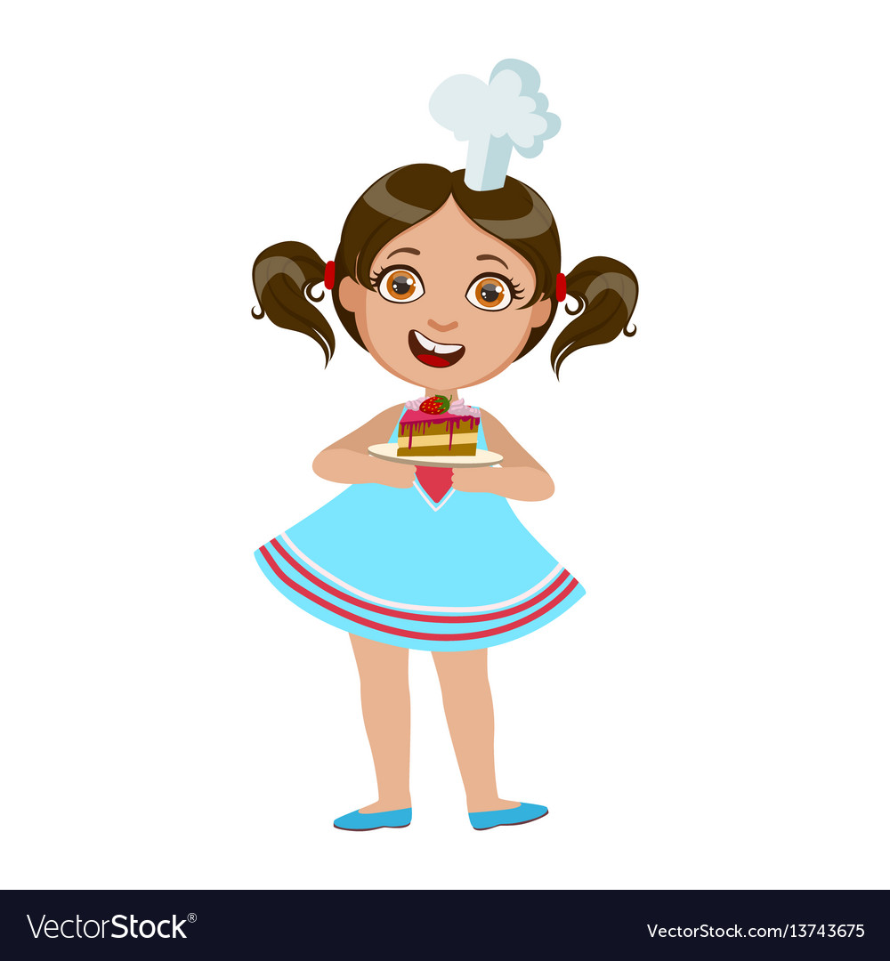 Girl holding plate with piece of cake cute kid in vector image
