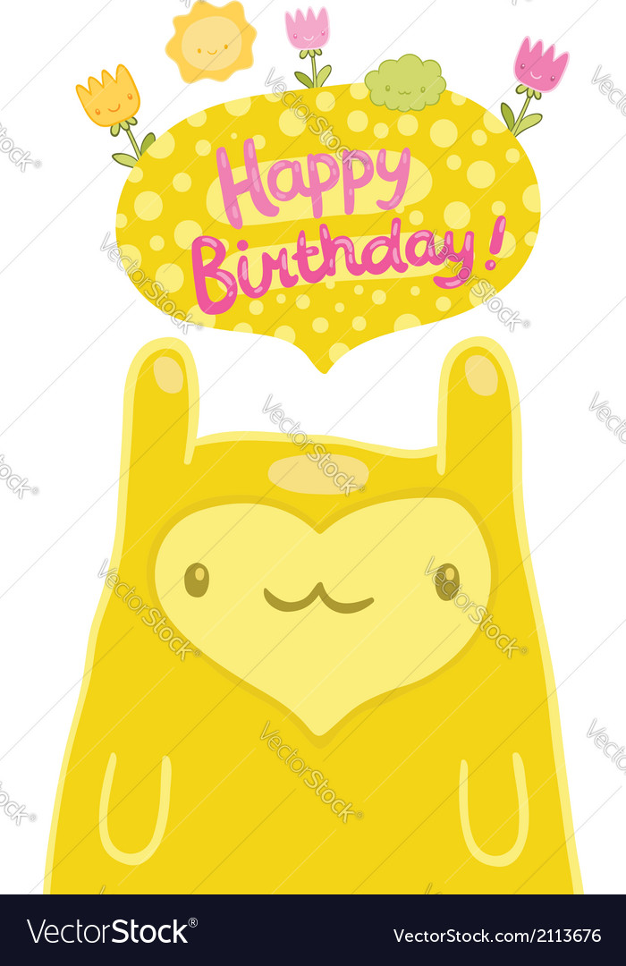 Cute monster Happy Birthday card vector image