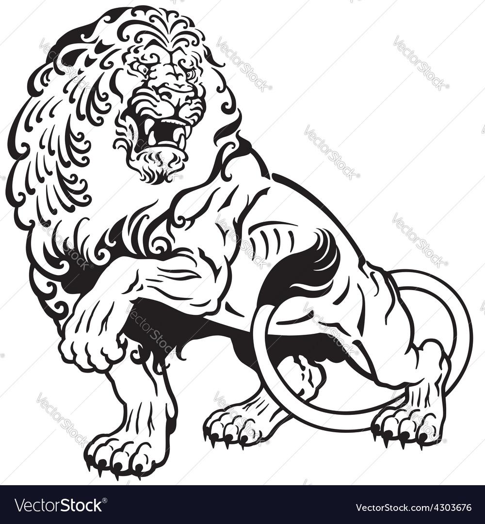 Lion tattoo black white vector image
