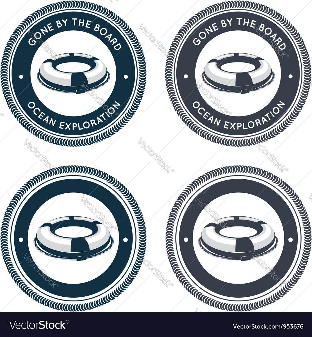 Nautical emblem with life ring vector image