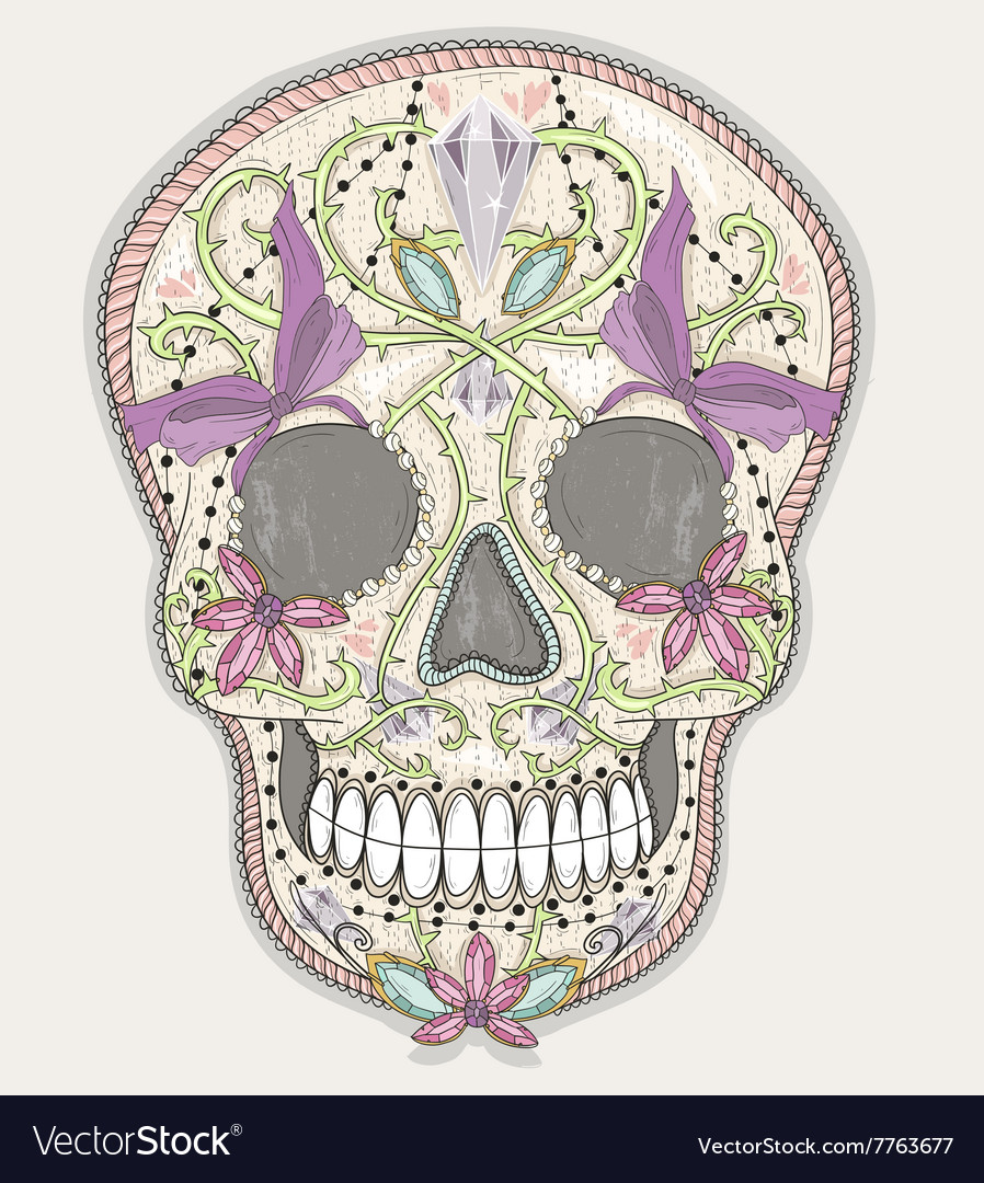 Cute mexican skull vector image