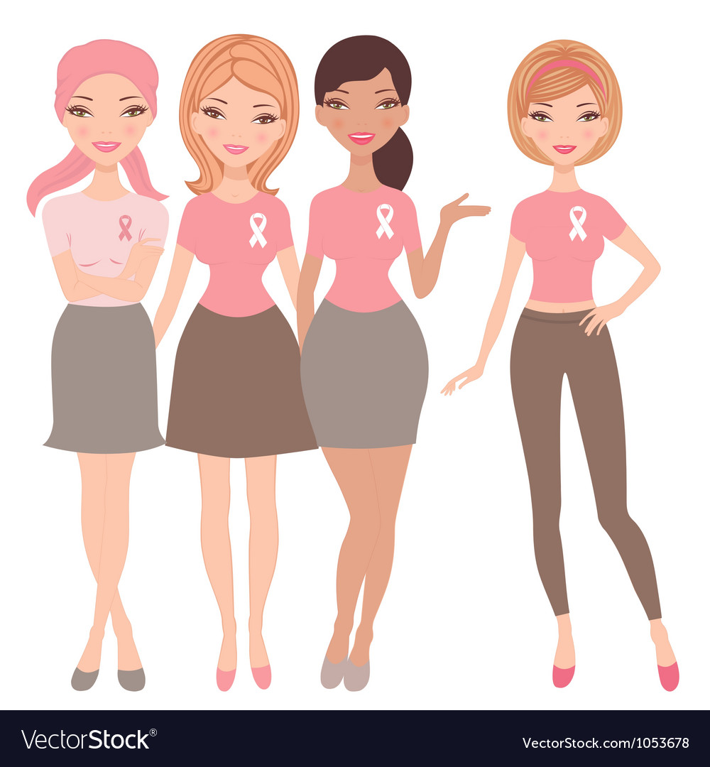 Breast cancer awareness women vector image