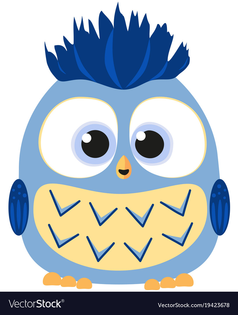 Cute baby boy owl colorful poster vector image