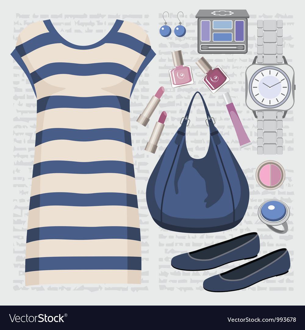 Fashion set with a tunic vector image
