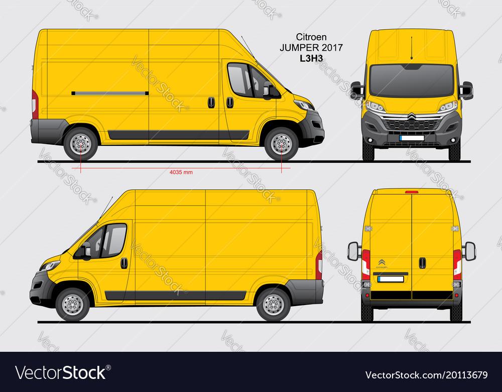 citroen jumper cargo delivery van 2017 l3h3 vector image. Black Bedroom Furniture Sets. Home Design Ideas
