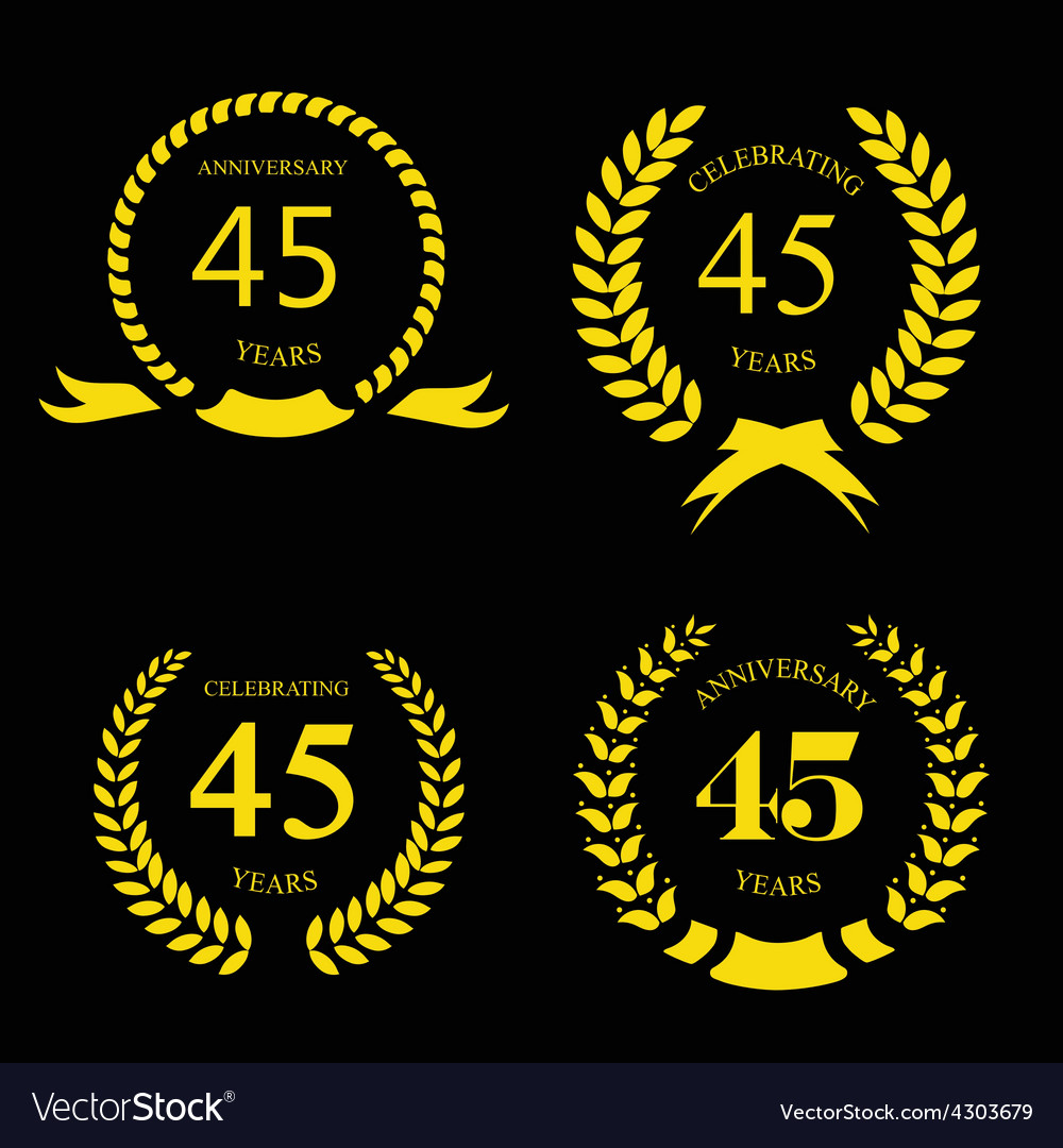 Forty five years anniversary laurel fifty years vector image