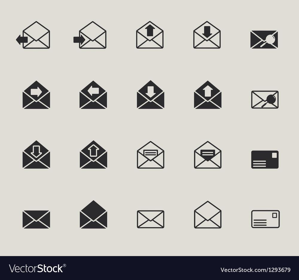 Mail envelope web icons set vector image