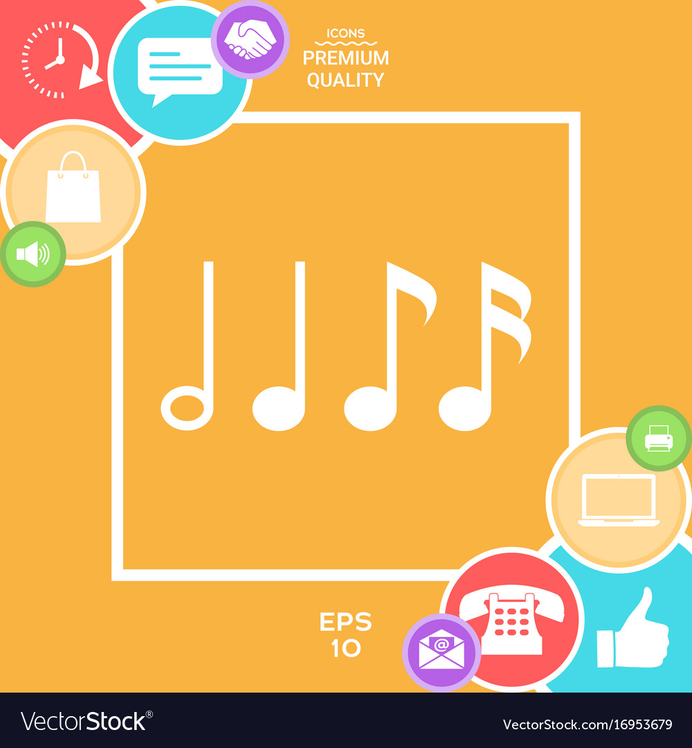 Symbol of music notes sixteenth note eighth vector image buycottarizona Image collections